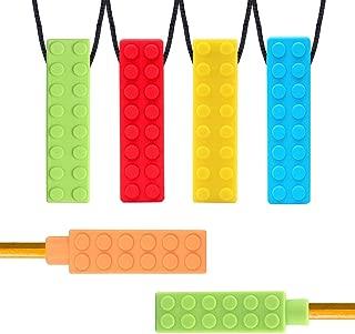bleu, rose, orange Yuccer 6 Pi/èces Collier /à M/âcher Sensoriel Mastication Collier de Dentition Silicone Enfant Embouts de Crayon pour B/éb/é de Dentition Moteur Oral ADHD Autisme Enfants Anxi/ét/é
