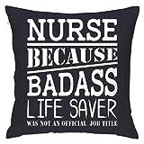 Asekngvo Funda de Almohada 18'X18 Enfermera Porque Badass Life Saver no era un Puesto de Trabajo de Oficina Funda de Almohada Funda de almohad