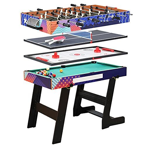 LANGTAOSHA Juego De Mesa De Juego Combinado 4 En 1 De 4 Pies, Mesa De Billar Plegable, Mesa De Ping-Pong, Futbolín Y Mesa De Hockey sobre Hielo con Todos Los Accesorios
