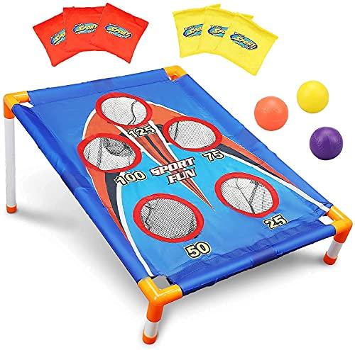 TOY Life Kids Cornhole Outdoor Games - Bean Bag Toss Game for Kids - 5 Holes Portable Cornhole Outdoor Game Set with 6 Bean Bag Toss and 3 Corn Hole Balls - Scoring Cornhole Set for Kids 3 4 5 6 7