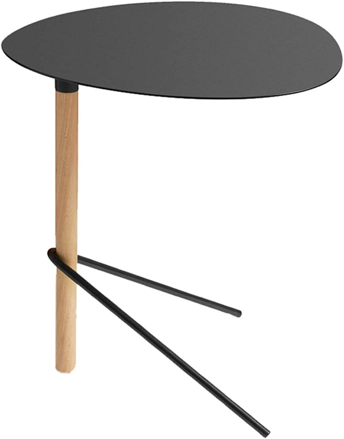 ZH Foldable Table Simple Side Table Bedroom Bedside Living Room Dining Table Sofa Balcony Corner Table Storage Side Black, 46x46x48cm