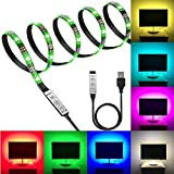 Fizzytech Black PCB TV Backlight Kit,Computer Case LED Light, Multi-Colour 120 leds Flexible 5050 RGB USB LED Strip Light with 5v USB Cable and Mini Controller for TV/PC/Laptop Background Lighting (4 Meter for 50' TV's and Above)