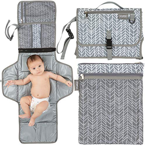 Baby Changing Mat Gray Portable Thicker Waterproof Diaper Change Mat Free Multi-Function Storage Bag for Travel Home