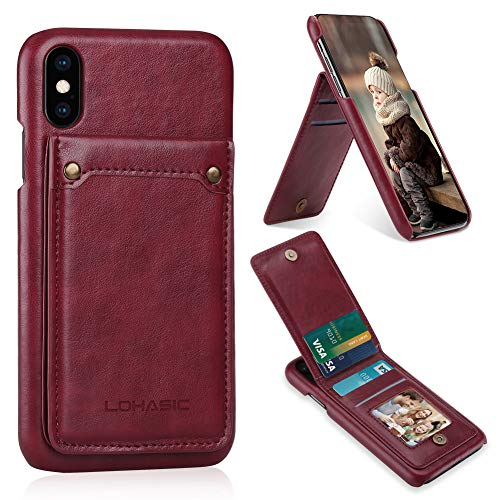 LOHASIC iPhone Xs & X Wallet Case with 4 Card Holder, PU Leather Flip Phone Cover with Stand Feature, Durable Shockproof Protective Cases for Apple iPhone Xs (2018) & iPhone X(2017) 5.8'- Burgundy