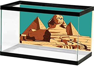 bybyhome Fish Tank Background Egyptian,Vintage Poster of Sphinx and Pyramids in Giza Ancient Famous Monument Cairo,Teal Pale Brown Multiple Sizes