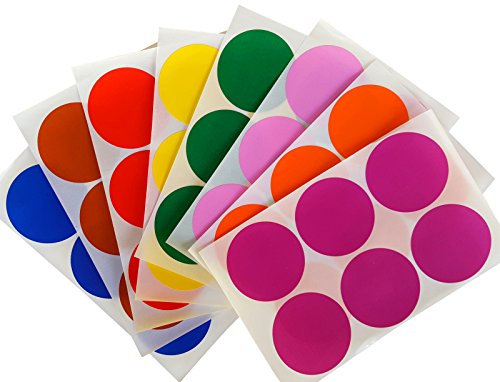 "Royal Green Round 2"" inch Sticker 50mm dot Labels - Colored Circle Stickers Permanent Adhesive in 8 Colors Red, Blue, Green, Yellow, Purple, Orange, Brown and Pink - 192 Pack"