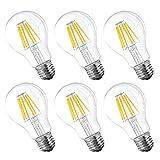 A60 LED フィラメント電球 6W エジソンランプ E26口金 2700K 電球色 白熱電球60W形相当 エジソン バルブ 広配光タイプ 360度発光 調光器対応 6個入