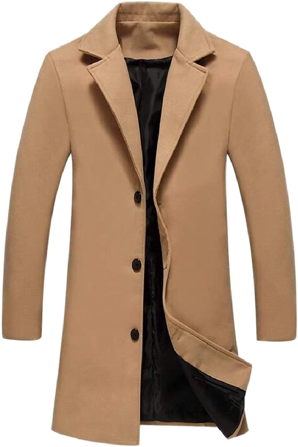 Sayah Mens Plus Velvet Solidcolord Thickening Hood RelaxedFit Overcoat Outerwear