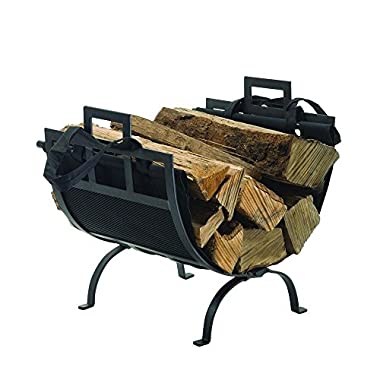 Pleasant Hearth Heavy Duty 22  Decorative Firewood Rack in Traditional Wrought Iron Design with Removable Canvas Tote, Powder Coated Black Finish, Fits Any Fireplace Perfectly!