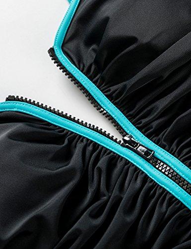 DELIMIRA - Bañador Cremallera Frontal Traje de Baño de Una Pieza para Mujer Multicolor #3 52