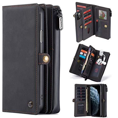 For iPhone11 favorable caso Max Monedero, multifunción de cuero del caso extraíble del teléfono, 15 ranuras de tarjeta y de la cremallera del bolso de embrague, Apto for iPhone11 proMax 6,5 pulgadas.
