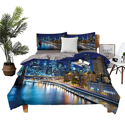 Why Choose Crib Sheets Landscape Cotton Sheets View of New York City Manhattan Bay Harbour at Night ...