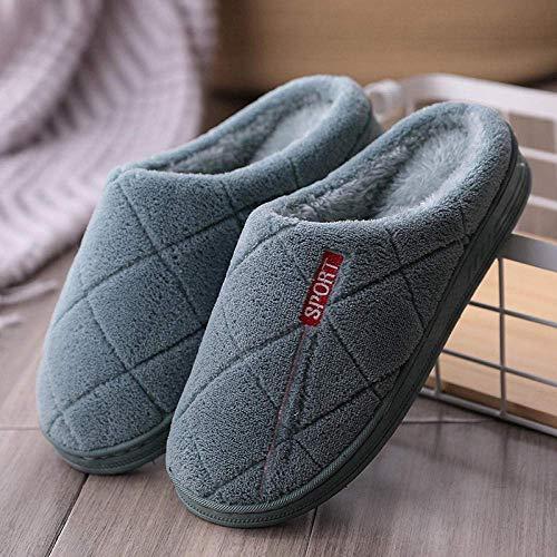BLMDX Comfort Plush Fleece Forro Pantuflas Antideslizantes, Cómodas Pantuflas Casuales para Hombres y Mujeres, Pantuflas de Interior, Pantuflas de Felpa Suave en Invierno-B-2 Green_6.5-7 UK