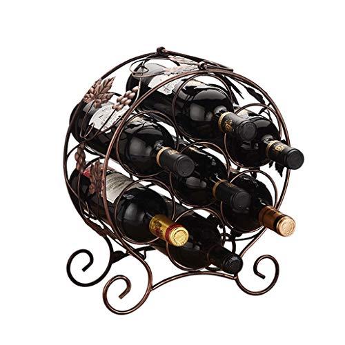botellero vino resistente Estante del vino del metal con patas Vino sostenedor de la botella de vino encimera de hierro estante de exhibición, mantenga 9 botellas de vino titulares de almacenamiento B