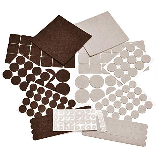166 Piece Two Colors - Variety Size Furniture Felt Pads. Self Adhesive Pads with Transparent Noise Reduction Bumpers. Floor Protectors for Hardwood & Laminate Flooring-166 Piece