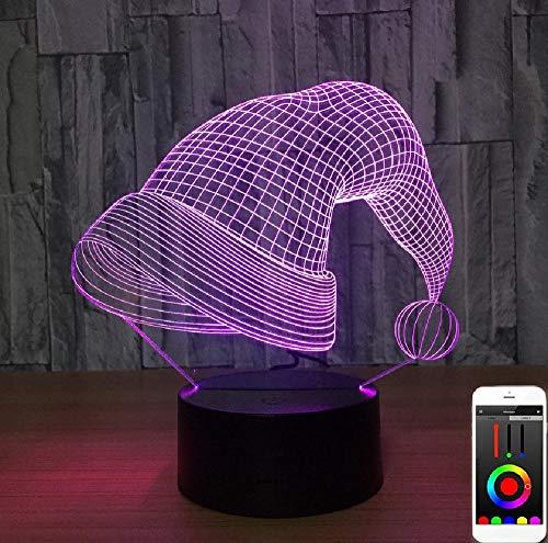 Weihnachtsmütze 3D Nachtlicht App und Touch Dual Control System, 7 And16 Farbwechsel Dekor Lampe Perfekte Geschenke für Kinder