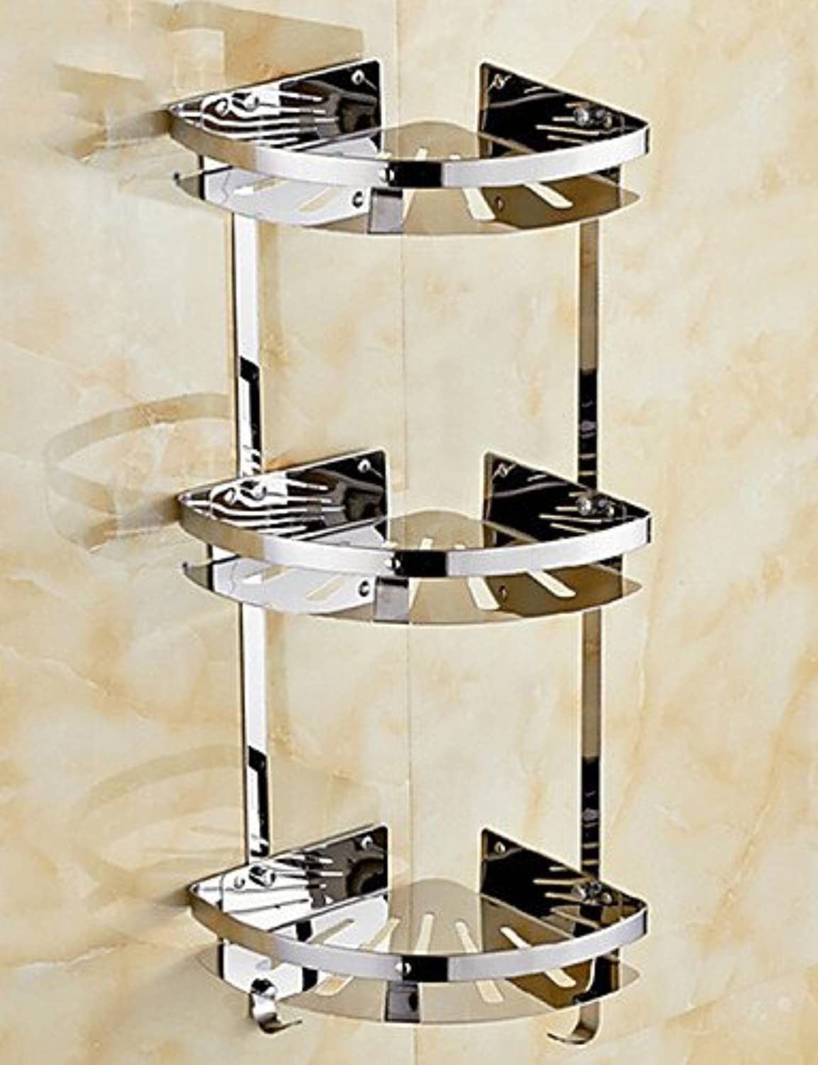 WYMBS Three-Deck Contemporary Space Aluminum Anodizing Wall Mounted Bathroom Shelf