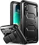 i-Blason Custodia iPhone X iPhone XS, Cover Rigida [Armobox V2.0] Pellicola Protettiva in Vetro Temperato Integrata [Kickstand] con Antiurto Bumper per Apple iPhone X/iPhone 10/iPhone XS (Nero)