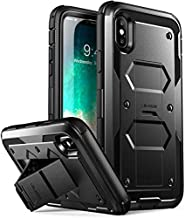 i-Blason Case Designed for iPhone X/iPhone Xs, Armorbox V2.0 Built in Tempered Glass Screen Protector Full Body Heavy Duty Protection Kickstand Shock Reduction Case (Black)