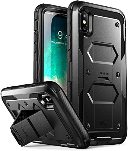 i-Blason Custodia iPhone X iPhone XS, Cover Rigida [Armobox V2.0] Pellicola Protettiva in Vetro Temperato Integrata [Kickstand] con Antiurto Bumper per Apple iPhone X/iPhone 10/iPhone XS (Nero)