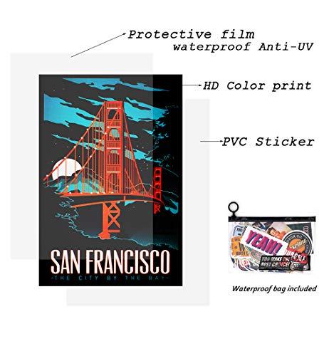 makstore 52 Stücke World Tour Aufkleber Set, Vintage Vinyl Stickers für Laptop Auto Motorrad Fahrrad Graffiti Patches Skateboard Pad Phone wasserdicht