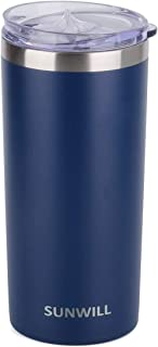 SUNWILL Coffee Mug with Lid, Vacuum Insulated Skinny Tumbler Lowball, Double Wall Stainless Steel Coffee Cup for Travel, Indoor and Outdoor 14oz, Powder Coated Navy Blue