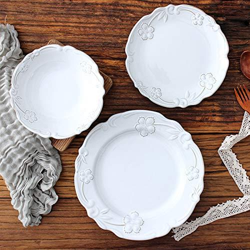 Juegos De Vajillas De Porcelana, cuenco de cereales de estilo francs y juego de platos para carne   Juegos de cena de porcelana con relieve vintage de 24 para regalo de boda