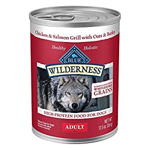 Blue Buffalo Wilderness High Protein Natural Adult Wet Dog Food plus Wholesome Grains Salmon & Chicken Grill 12.5-oz can (Pack of 12)