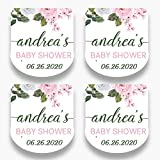Set of 30 Personalized Floral Mini Favor Labels - Customized Stickers for Baby Shower Favors - Mini Bottle Labels - Labels ONLY(HSL103)