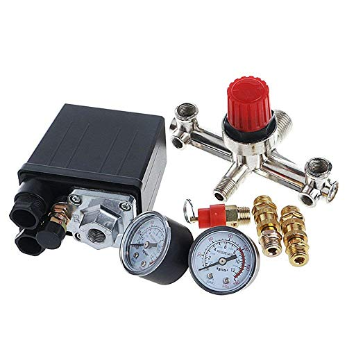 Liyafy 90-120 PSI Air Compressor Pressure Control Switch with Pressure Regulator Gauges Relief Safety Valve Fittings Set