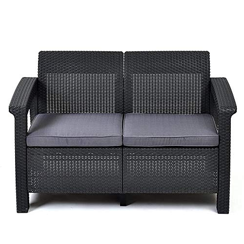 ZHFC Resin wicker double sofa– Patio Furniture Perfect for Front Porch Décor and Poolside Love Seats, With outdoor comfortable cushion