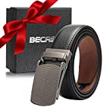 IceFrog - Cinturón de piel para hombre, con trinquete automático, para hombre, estilo retro, 30 mm de ancho, incluye caja de regalo Negro  105 cm