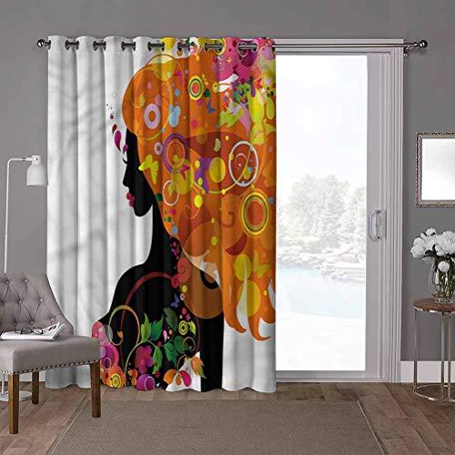 YUAZHOQI - Cortina opaca con aislamiento térmico de alta calidad, diseño de flores de silueta de mujer, ancho 52 x largo 84 pulgadas, cortinas oscurecedoras para habitación (1 panel)