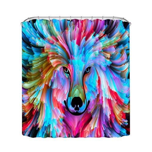 AFDSJJDK Cortinas para Sala Cortina de Ducha de Lobo con Estampado de Acuarela, Tela Impermeable, decoración de baño, Multicolor