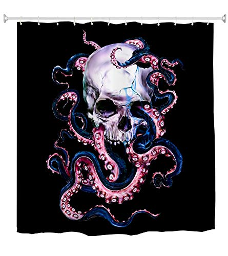 YUYASM Skull Octopus Fabric Shower Curtain Marine Kraken Sea Monster Tentacle Through Halloween Skeleton's Eyes Decor Bathroom Bath Curtains with Plastic Hooks 70x70 Inch