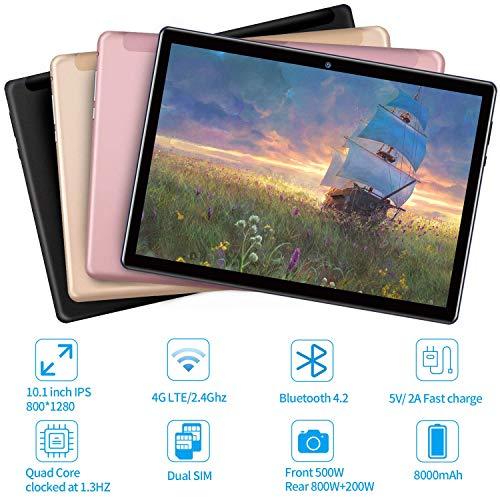 4G LTE Tablet 10 Zoll mit Tastatur, Android 9.0,4 GB RAM + 64 GB ROM, IPS 800 * 1200,5 MP + 8 MP Dual-Kamera, Dual-SIM 4G, OTG, GPS, WiFi, 8000 mAh, Bluetooth Blau