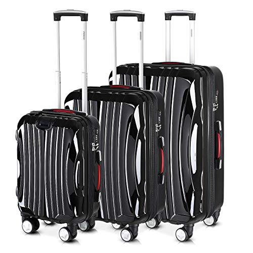 Monzana® Ikarus 3er Set Koffer Schwarz M, L, XL USB TSA-Schloss Reisekoffer Trolley Kofferset Rollkoffer