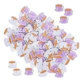 Botones de madera púrpura/blanca lindos dos agujeros dibujos animados botones Color‑Pintado Decoración de impresión para ropa Coser accesorios hechos a mano