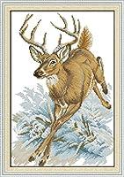 数字油絵 フレームレス 、数字キット塗り絵 手塗り DIY-大人の初心者の子供-鹿が走っている-40x50 cm