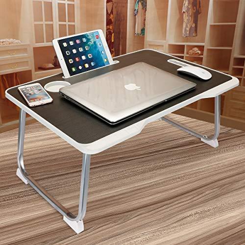 Astory Laptop Bett Tablett Tisch mit Griff, tragbare Laptop Schreibtisch Notebook Ständer Lesehalter mit faltbaren Beinen & Cup Slot & Tablet Nut für Bett/Sofa/Couch/Boden (schwarz)