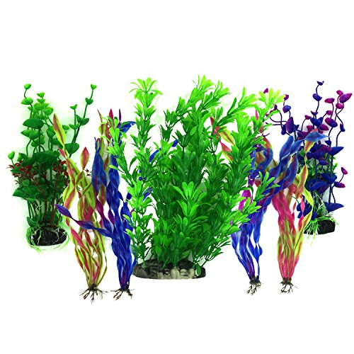 Plantas acuáticas artificiales, PietyPet 7 piezas Plantas grandes de acuario Decoraciones plásticas del tanque de peces, Planta de simulación viva Criatura Acuario Paisaje
