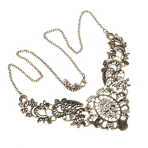 VAGA - Collar de cadena de filigrana de encaje de oro clásico