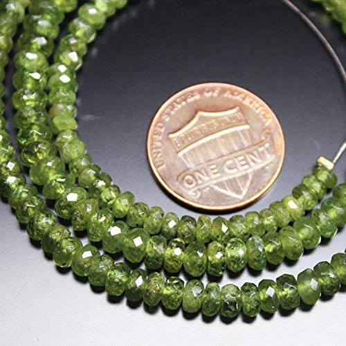 1 Strand Demantoid Garnet rondelle Faceted 18'' Long Strand Gemstone Beads, Jewelry Supplies for Jewelry Making, Bulk Beads, for Meditation Jewellery for Reiki Healing Mystic Gemstone Size 3mm to 6mm
