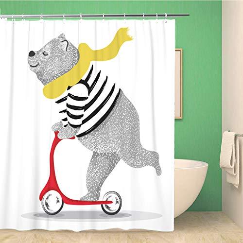 Awowee Decor Duschvorhang, lustiges Bären-Motiv, Cartoon-Charaktere, Vintage, 180 x 180 cm, Polyester, wasserdicht, Badvorhänge Set mit Haken für Badezimmer