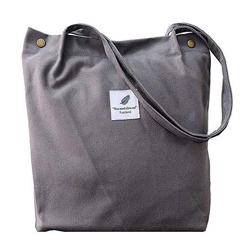 Funtlend Damen Handtasche Groß Canvas Tasche Damen Umhängetasche Henkeltasche Damen für Mädchen Schule Uni-Upgraded-40 * 35 * 11