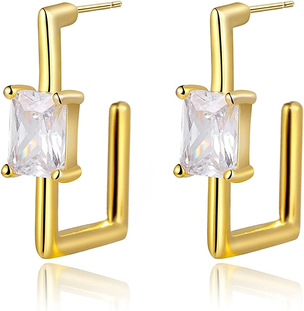 CZ Square Hoop Earrings - with Cubic mart 14 2021 spring and summer new Zirconia Huggie