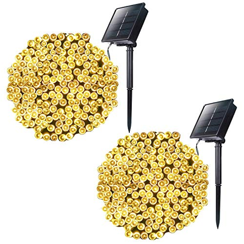 Solar String Lights with 8 Lighting Modes, 72 Feet 200Led Outdoor Solar Powered Fairy Lights Waterproof for Indoor Outside Xmas Patio Garden Yard Wedding Party Tent Tree Decor, Warm White, 2 Pack