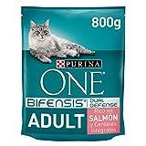Purina One Bifensis Crocchette Gatto Adult Ricco in Salmone e Cereali integrali - 8 Sacchi da 800 g Ciascuno
