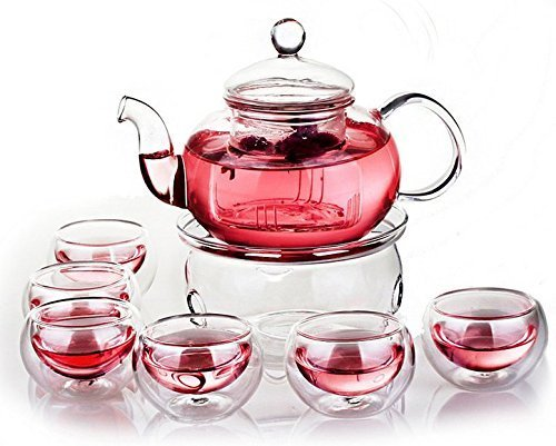 Glass Teapot and Cups Set for 6 with Insufer and Warmer