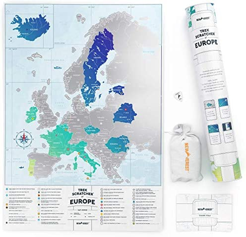 Newverest Europe Scratch Off Map Detailed Travel Wall Art Poster of Europe with Capital Cities product image